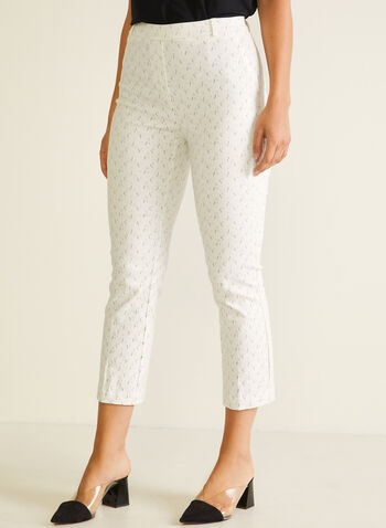 Jules & Leopold - Abstract Print Pull-On Capris, White,  capris, pull-on, abstract, slim leg, pockets, belt loops, flared leg, spring summer 2020