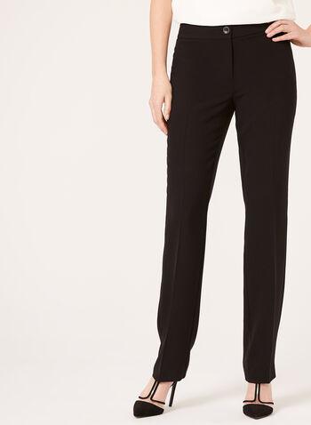 Pantalon coupe moderne à jambe droite, Noir,  printemps,été