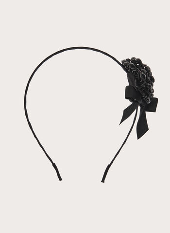 Crystal Flower Ribbon Embellished Headband, Black, hi-res