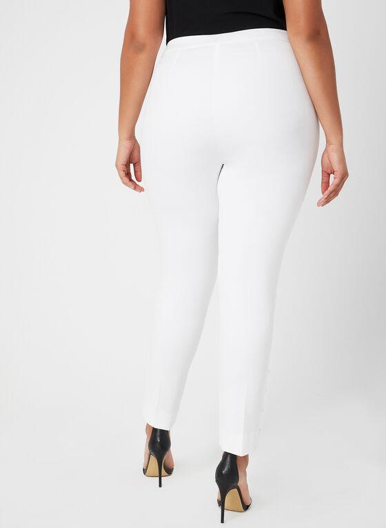 Pantalon coupe cité à détails lacets, Blanc cassé, hi-res