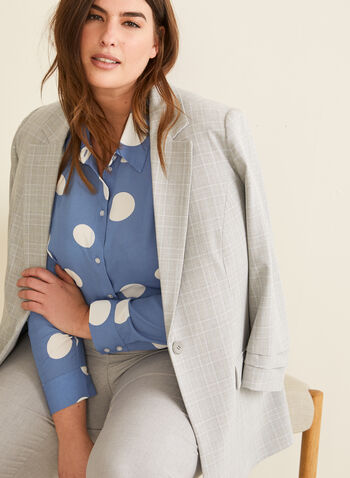 Polka Dot Print Crepe Blouse, Blue,  blouse, polka dot, pleat, shirt collar, button down, long sleeves, fall winter 2020