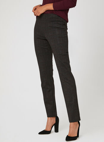 Modern Fit Plaid Print Pants, Black, hi-res