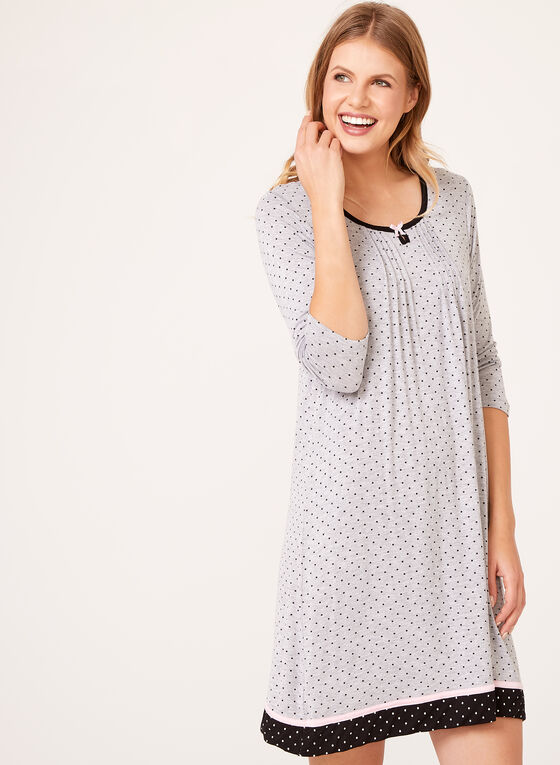 René Rofé - Dot Print ¾ Sleeve Nightgown, Grey, hi-res