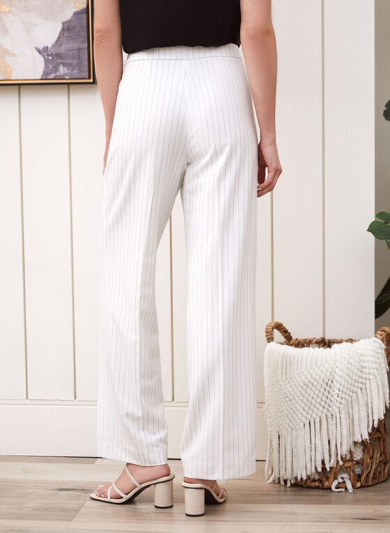 Pinstripe Print Wide Leg Pants, White