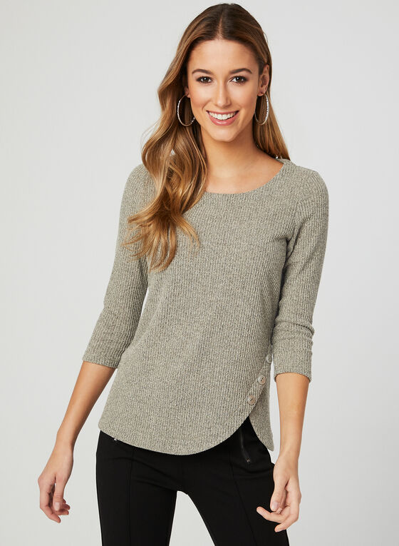 ¾ Sleeve Ribbed Top, White, hi-res