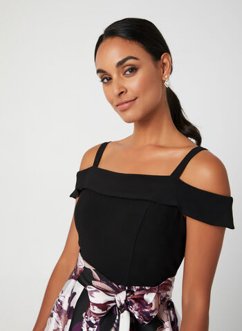 Floral Print Fit & Flare Dress, Black, hi-res,  fall winter 2019, cocktail dress, floral print, jersey