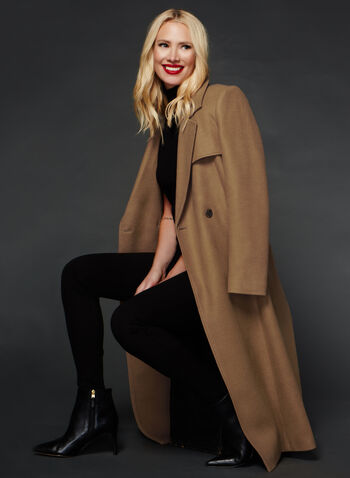 Novelti - Manteau long coupe croisée style trench, Brun, hi-res