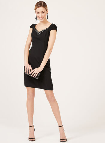 Jessica Howard – Beaded Sweetheart Neckline Dress, Black, hi-res