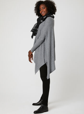 Elena Wang - Knit Poncho Top, Grey, hi-res