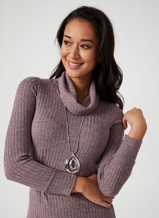 Haut en tricot côtelé à col roulé, Violet