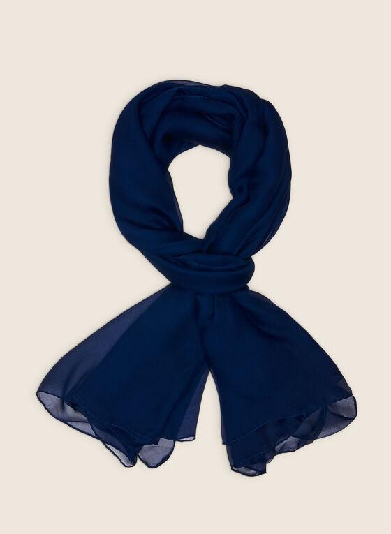 Foulard oblong en mousseline, Bleu