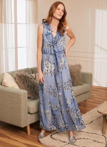 Joseph Ribkoff - Floral Print Wide Leg Jumpsuit, Blue,  jumpsuit, floral, chiffon, v-neck, ruffle, sleeveless, wide leg, ribkoff, lyman, spring summer 2021