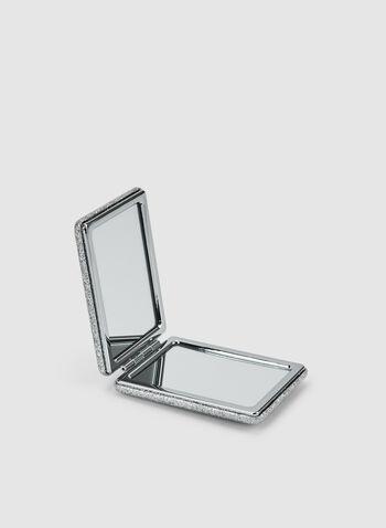 Miroir de poche pailleté, Argent,  miroir, rectangulaire, pailleté, automne hiver 2019
