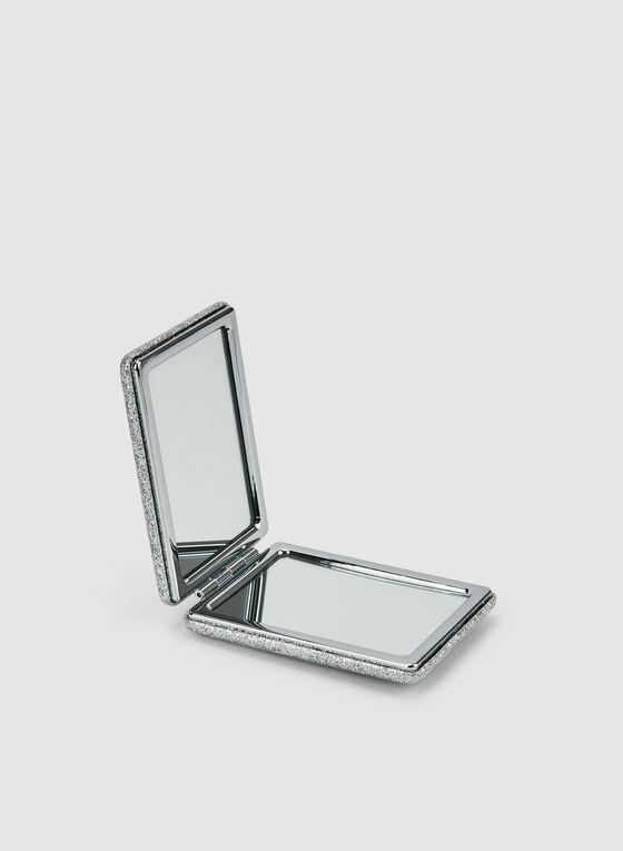 Glitter Compact Mirror, Silver