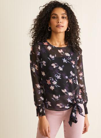 Blouse diaphane en mousseline fleurie, Noir,  blouse, mousseline, fleurs, manches ballon, ajour, lien, printemps été 2020