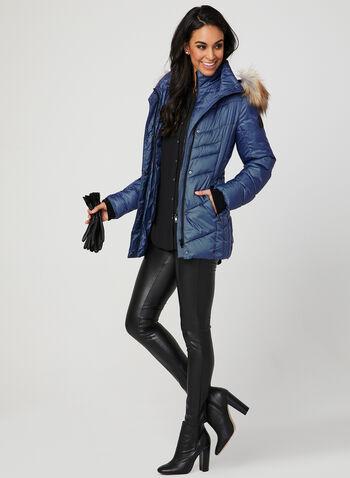 Chillax - Manteau matelassé à imprimé chevron, Bleu, hi-res