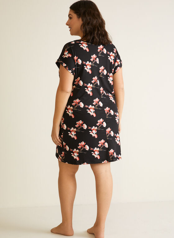 Floral Print Nightgown, Black