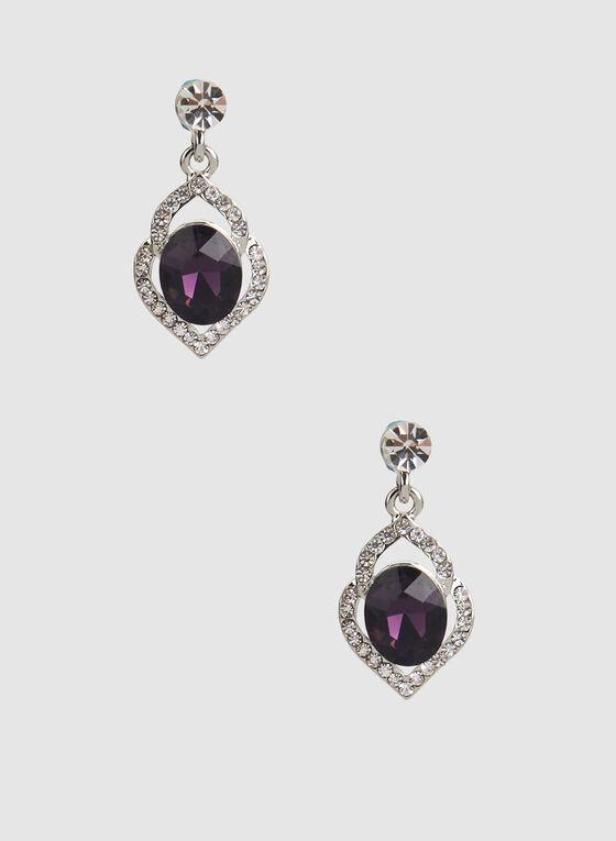 Stone Insert Glass Oval Earrings, Purple