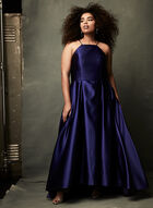 High Low Satin Ball Gown, Blue, hi-res