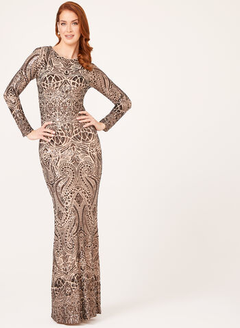 Sequin Embellished Art Deco Gown, Brown, hi-res