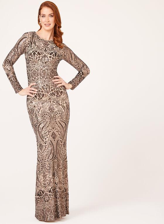 Sequin Embellished Art Deco Gown, Brown, hi-res