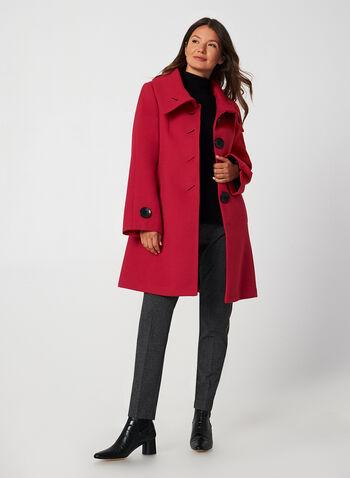Manteau aspect laine à manches évasées, Rouge,  manteau, col enveloppe, aspect laine, manches évasées, boutons, automne hiver 2019
