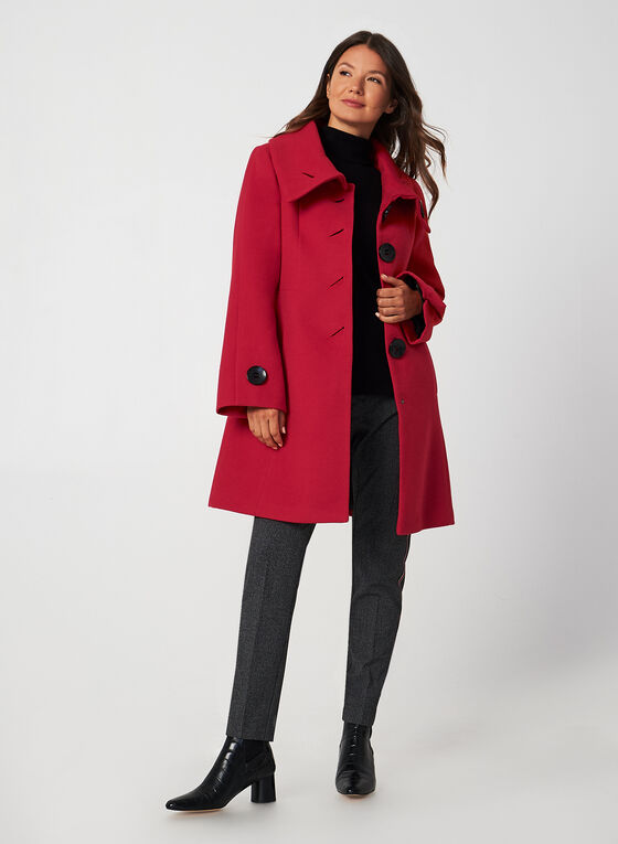 A-Line Wool-Like Coat, Red