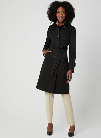 Anne Klein - Notch Collar Trench Coat, Black, hi-res,  removable hood, spring 2019