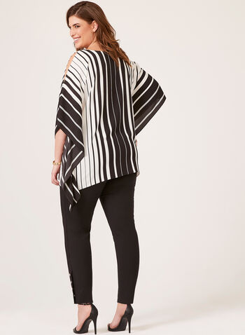 Printed Poncho Blouse, Black, hi-res