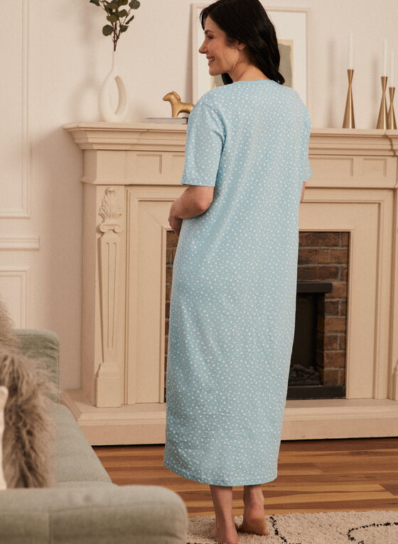 Star Print Cotton Nightgown, Blue