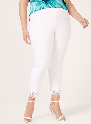 Lace Trim Ankle Pants, White, hi-res