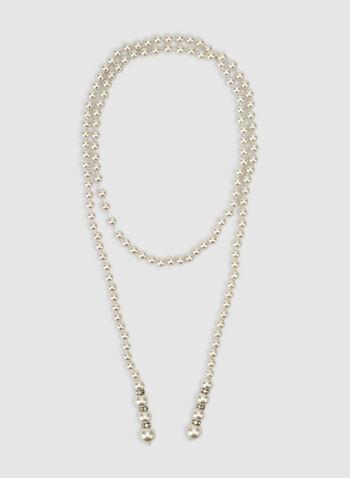 Collier sautoir en perles, Blanc cassé,  collier sautoir, long, perles, noué, automne hiver 2019