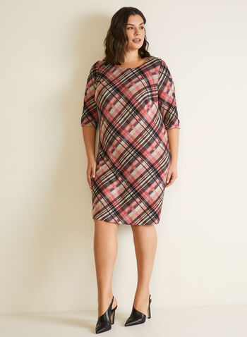 Tartan Print Button Detail Dress, Pink,  dress, day, tartan, scoop neck, knit, fall winter 2020