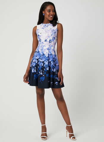 Floral Print Fit & Flare Dress, Purple, hi-res