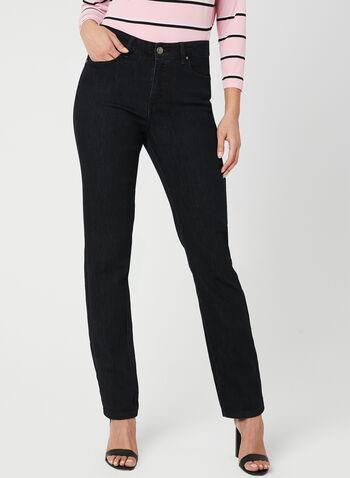 Simon Chang - Signature Fit Straight Leg Jeans, Black,  embroidery, denim, pockets, spring 2019