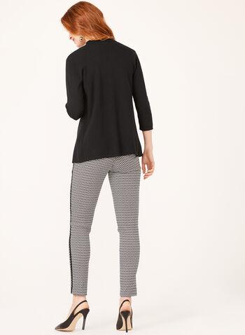 Cascading Collar Knit Cardigan, Black, hi-res