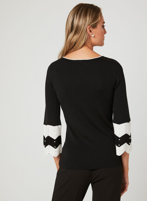 ¾ Sleeve Pearl Detail Sweater, Black, hi-res