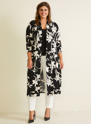 Joseph Ribkoff - Floral Print Open Front Tunic, Black,  top, tunic, open front, floral, 3/4 sleeves, spring summer 2020