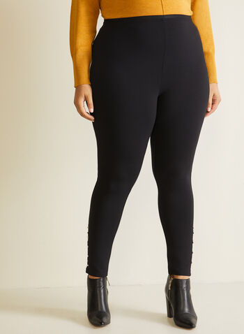 Pearl Detail Leggings, Black,  pants, leggings, pull-on, pearl, crystal, stretchy, fall winter 2020