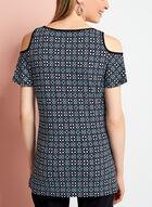 Tile Print Cold Shoulder Jersey Top, Black, hi-res