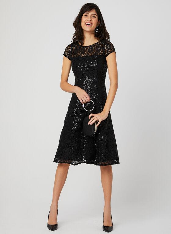 e50eb6f1 ... Sequin Lace Fit & Flare Dress, Black, ...