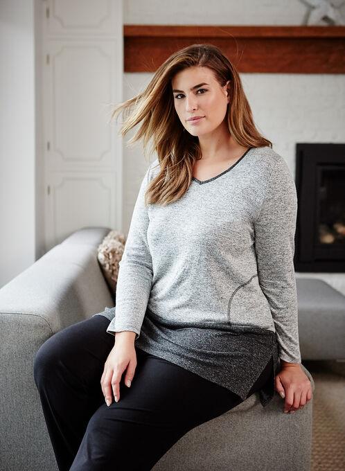 Tunique douceur en tricot chiné contrastant, Gris, hi-res