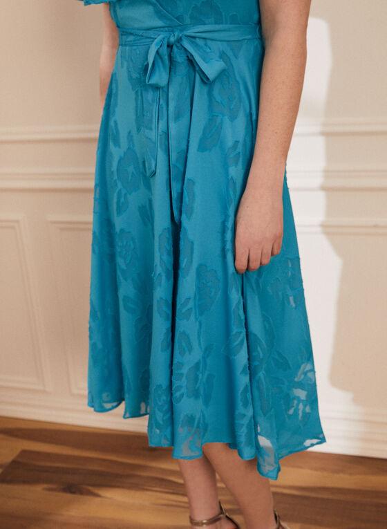 Floral Motif Capelet Dress, Blue