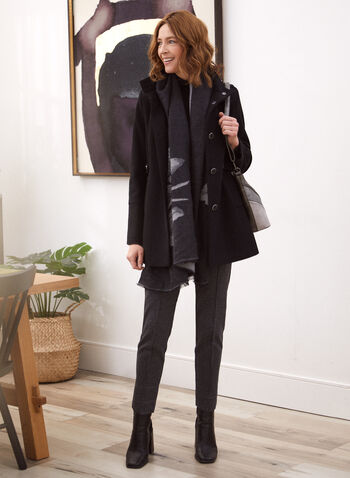 Wool Blend Stand Collar Coat, Black,  fall winter 2020, coat, stand collar, wool blend, button closure, stitching, cozy, classic