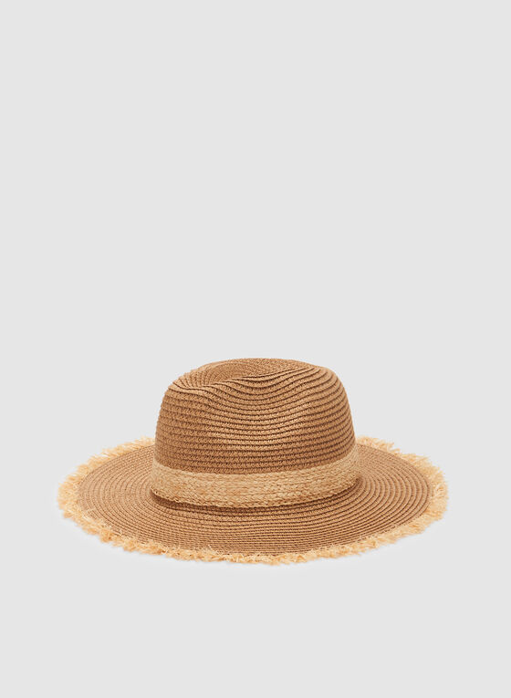 Frayed Straw Hat, Off White, hi-res