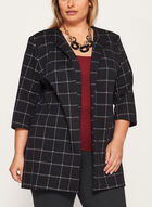 Plaid Print Open Front Jacket, Black, hi-res