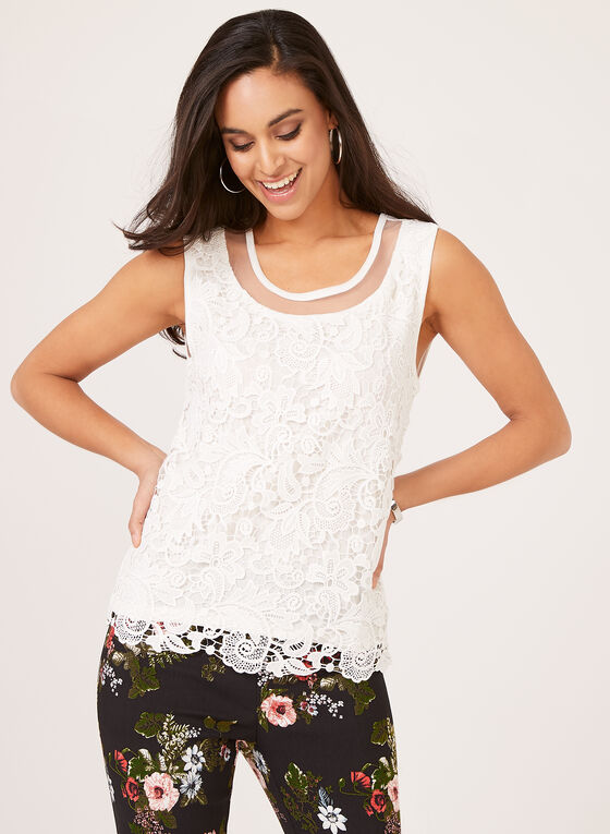 Ness - Sleeveless Lace Top, Off White, hi-res