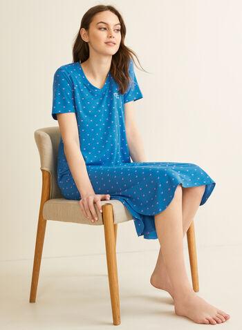 Claudel Lingerie - Longue chemise de nuit, Bleu,  printemps été 2020, chemise de nuit, pyjama, encolure en V, manches courtes, imprimé