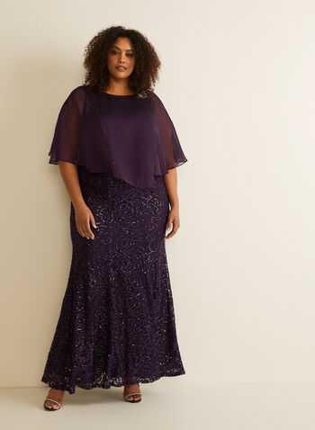Sequin Lace Poncho Dress, Purple,  evening dress, lace, sequins, chiffon, asymmetric, fit & flare, brooch, sleeveless, spring summer 2020