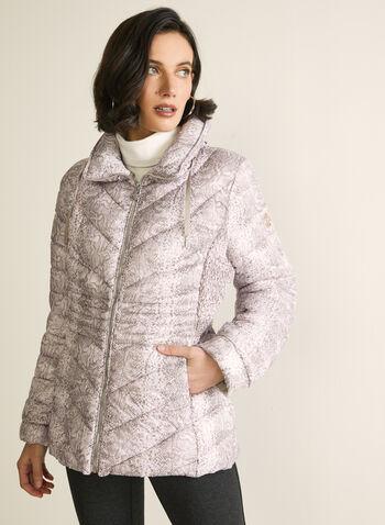 Bernardo - Packable Coat, Red,  Bernardo, packable, coat, snakeskin print, water resistant, long sleeves, Bluesign, EcoPlume, fall 2019, winter 2019